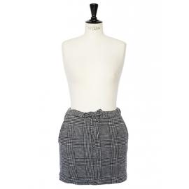 Mini jupe en laine imprimé tartan gris Prix boutique 250€ Taille 38
