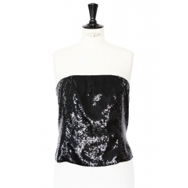 Black sequins embroidered bustier strapless top Retail price €300 Size 40