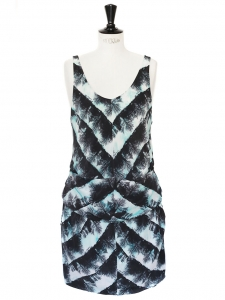 Black, peacock blue and white silk printed dress Retail price €400 Size 38