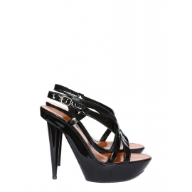 Black patent leather high heel sandals Retail price €600 Size 36