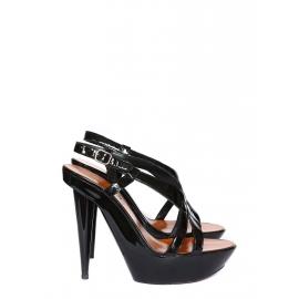 Sandales à talons en cuir verni noir Px boutique 600€ Taille 36