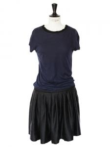 Robe fluide en coton bleu marine et soie noire Px boutique 850€ Taille 36