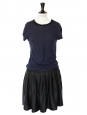 Black silk and navy blue cotton dress Retail price €850 Size 36