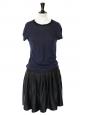 Robe manches courtes en coton bleu marine et soie noire Prix boutique 850€ Taille 36