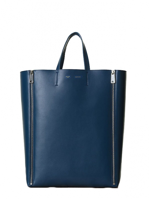 Sac cabas GUSSET Vertical en cuir lisse bleu NEUF Prix boutique 1250€ NEUF