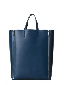 Navy blue leather GUSSET tote bag Retail price €1250