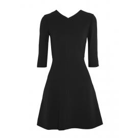 Robe évasée manches 3/4 en crêpe noir Px boutique 1000€ Taille 38