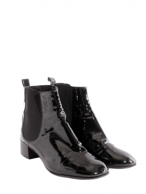 cb38e81cf5e6 Low heel black patent leather ankle boots Retail price €800 Size 38.5