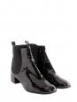 Bottines hauteur cheville à petits talons en cuir verni noir Px boutique 800€ Taille 38,5