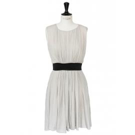 Robe sans manches en laine grise et ceinture velours noir Px boutique 900€ Taille 36/38
