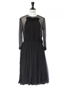 Black pleated tulle and silk veil dress with ruffles Retail price around €3000 Size XS