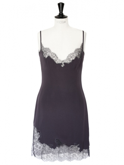 Thin strap dark mauve grey lace and silk crepe cocktail dress Size 38