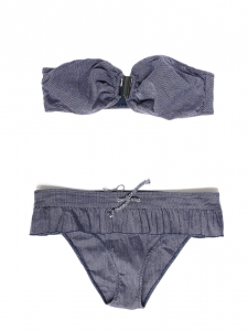 Denim blue ruffled bikini swimsuit Retail price €180 Size 34/36