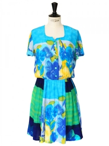 Colorful printed short sleeves dress Size 36