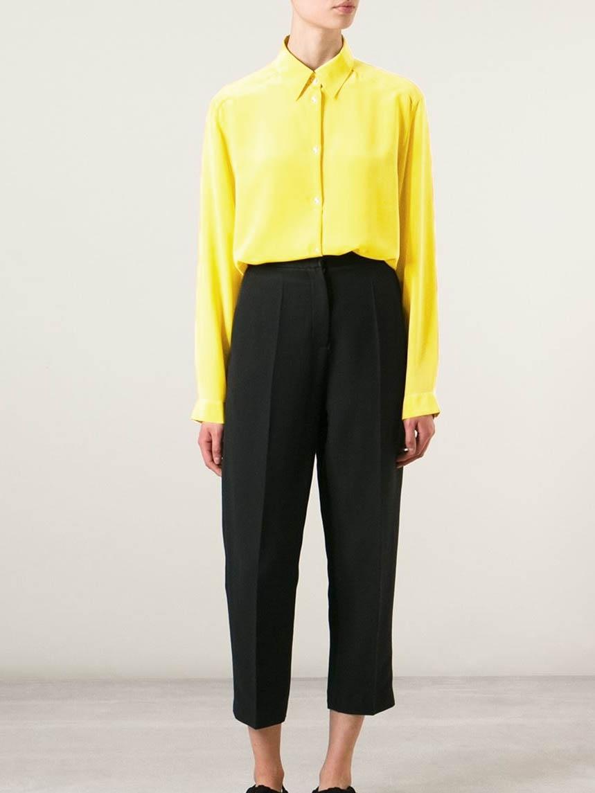 ... Chemise manches longues en soie jaune citron Px boutique 270€ Taille 36  ... 06485c0506c