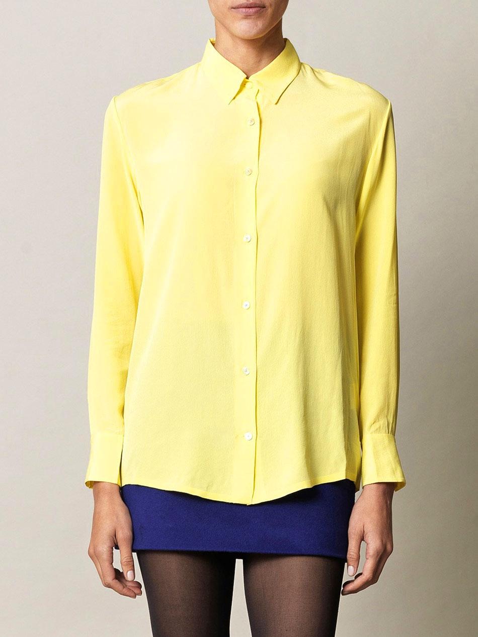 louise paris acne chemise manches longues en soie jaune citron px boutique 270 taille 36. Black Bedroom Furniture Sets. Home Design Ideas