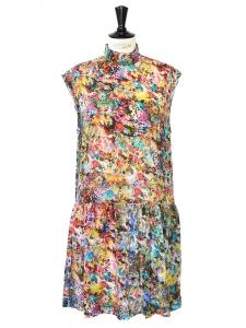 Robe en soie plissée imprimé floral multicolore NEUVE Px boutique 500€ Taille 36