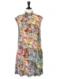 Multicolored floral print silk sleeveless dress NEW Retail price €500 Size 36