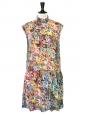 Robe sans manche en soie imprimé fleuri multicolore NEUVE Px boutique 500€ Taille 36