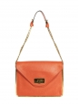 SALLY orange grained leather shoulder bag and gold chain Retail price €1710