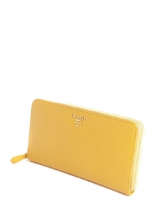 Bright yellow Saffiano leather continental zip wallet or clutch NEW Retail price €595