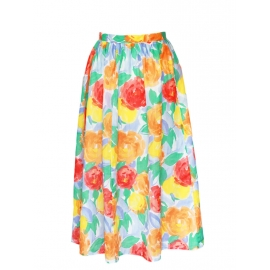Bright colorful floral print high waist maxi skirt Size 36/38