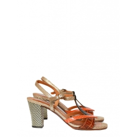 TIBITIBAO checkerboard heel sandals in gold, orange black and red leather Retail price 250€ Size 37