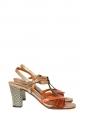 Sandales TIBITIBAO à petit talon damier en cuir doré orange et noir Px boutique 250€ Taille 37