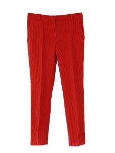 Pantalon tailleur en coton rouge à fines rayures noires Px boutique 1100€ Taille 36