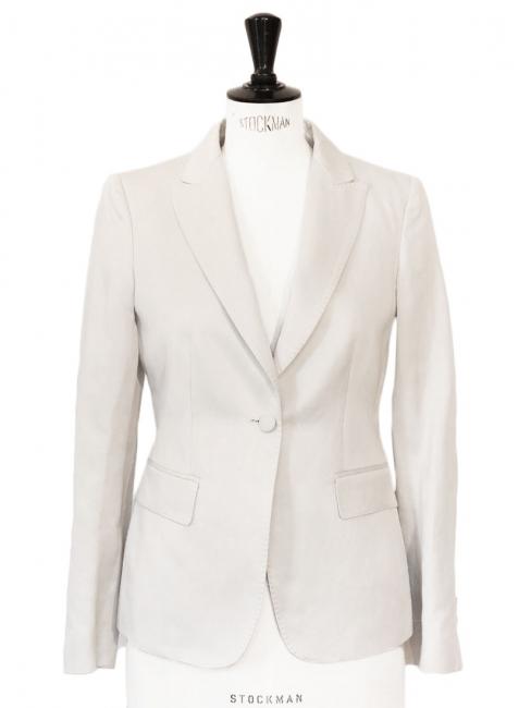 Ivory white luxury cotton tuxedo blazer jacket Retail price €800 Size 36