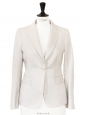 Ivory white luxury cotton tuxedo blazer jacket Retail price €800 Size 36