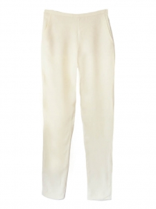 Ecru silk crepe straight cut high waisted pants Retail price €550 Size 36