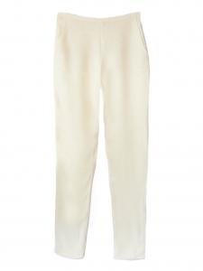 Pantalon taille haute coupe droite en crêpe de soie écru Px boutique 550€ Taille 36