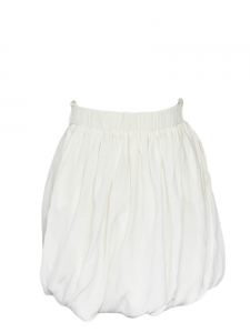 White silk chiffon high waist draped skirt Retail price €1000 Size 36
