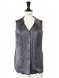 Dark grey silk satin sleeveless top Retail price €600 Size 36
