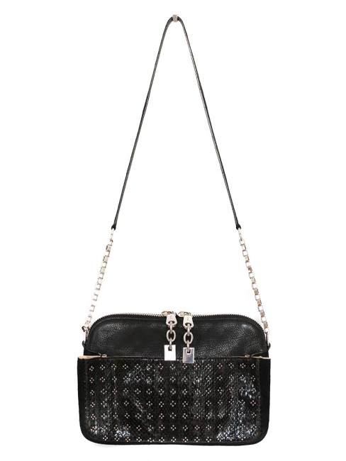 LUCY Black ayers leather and suede silver studded handbag NEW Retail price €1800