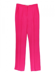 Fuchsia bright pink crepe high waisted pants Retail price €450 Size 36
