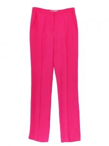 Pantalon taille haute en crêpe rose fuchsia Px boutique 450€ Taille 36