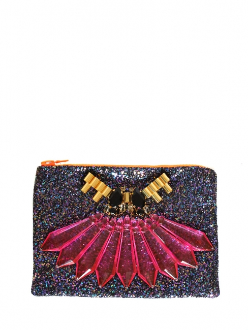 Neon glitter embellished clutch NEW Retail price €525