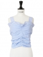 Light blue cotton cropped top with bow at back Retail price €700 Size 34