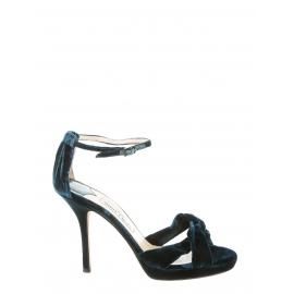 Sandales Macy en velours bleu vert et cuir boucle cheville cristal Px boutique 580€ Taille 36