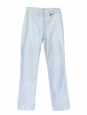 Light blue striped print cotton straight cut pants Size 36