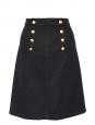 Jupe midi à pont en laine noire et boutons dorés Px boutique 220€ Taille 38