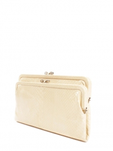 LUCE Cream beige snakeskin leather wallet clutch Retail price €500
