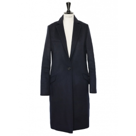 CARLEN Navy blue pure new wool and cashmere slim fit coat Retail price €760 Size 36