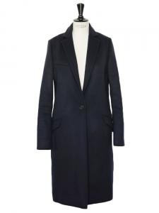 Manteau CARLEN slim fit en laine vierge et cachemire bleu marine Px boutique 760€ Taille 36