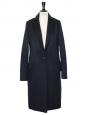 Manteau CARLEN slim fit en cachemire et laine vierge bleu marine Px boutique 760€ Taille 36