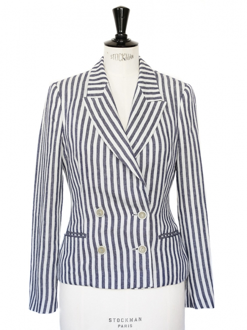 Navy blue and white striped linen blazer jacket Retail price €500 Size 36