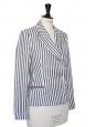 Veste blazer en lin rayé bleu marine et blanc Px boutique 500€ Taille 36
