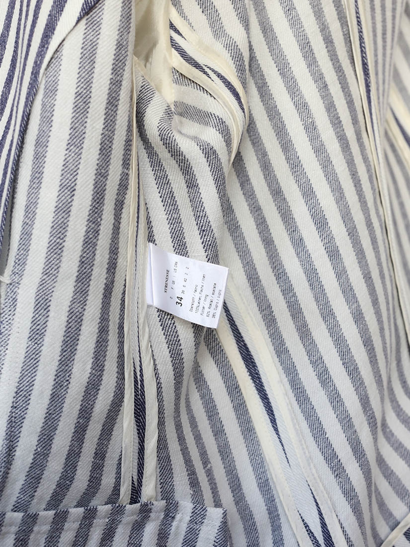Louise Paris - STRENESSE Navy blue and white striped linen